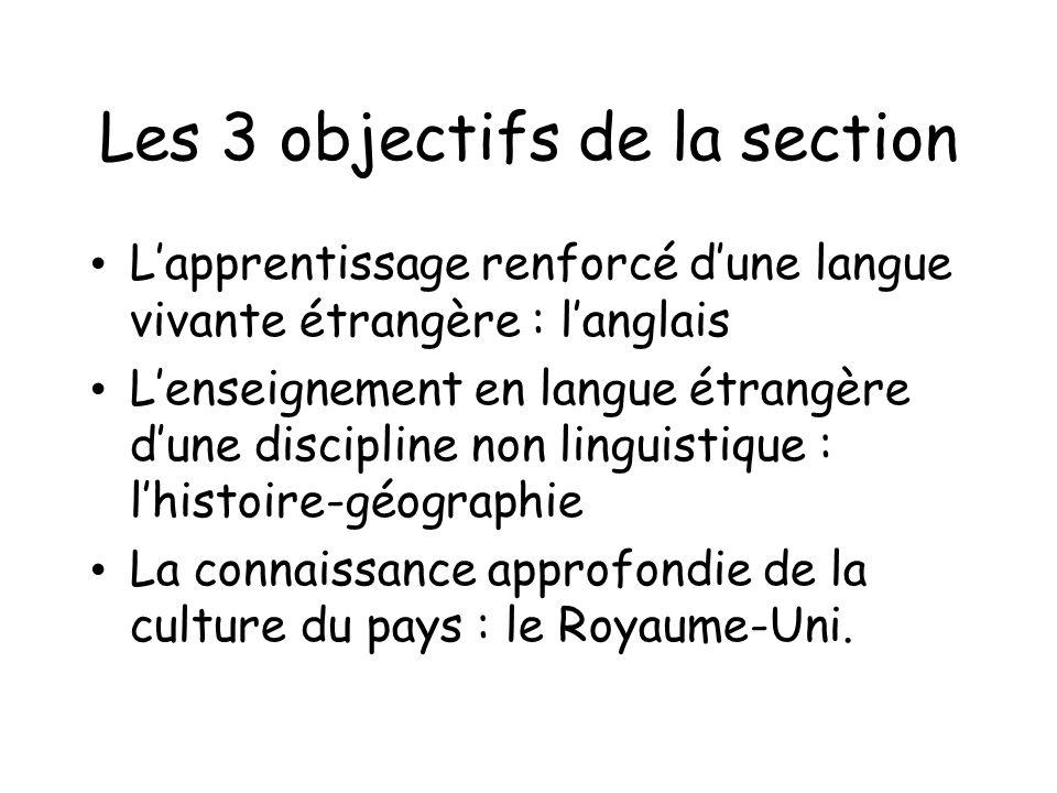 Les 3 objectifs de la section Lapprentissage renforcé dune langue vivante étrangère : langlais Lenseignement en langue étrangère dune discipline non l
