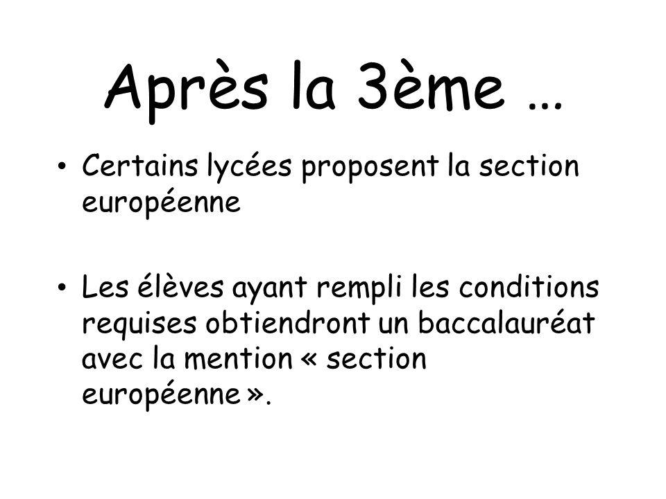 Après la 3ème … Certains lycées proposent la section européenne Les élèves ayant rempli les conditions requises obtiendront un baccalauréat avec la me