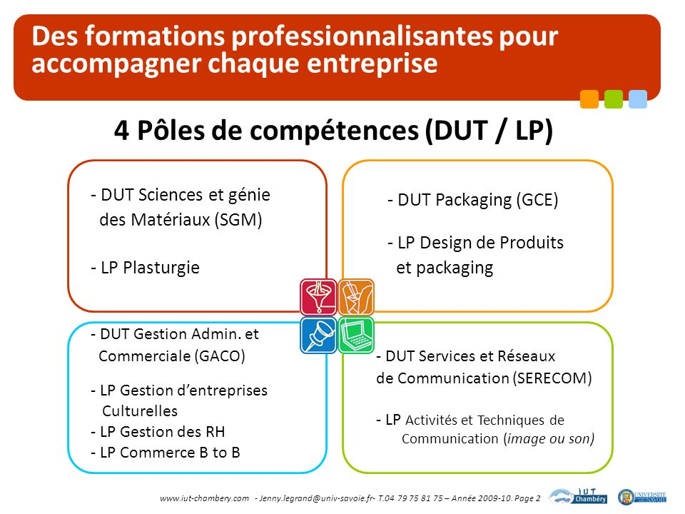 www.iut-chambery.com - Jenny.legrand@univ-savoie.fr- T.04 79 75 81 75 – Année 2009-10. Page 2 Des formations professionnalisantes pour accompagner cha