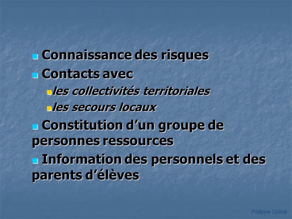 Connaissance des risques Connaissance des risques Contacts avec Contacts avec les collectivités territoriales les collectivités territoriales les seco