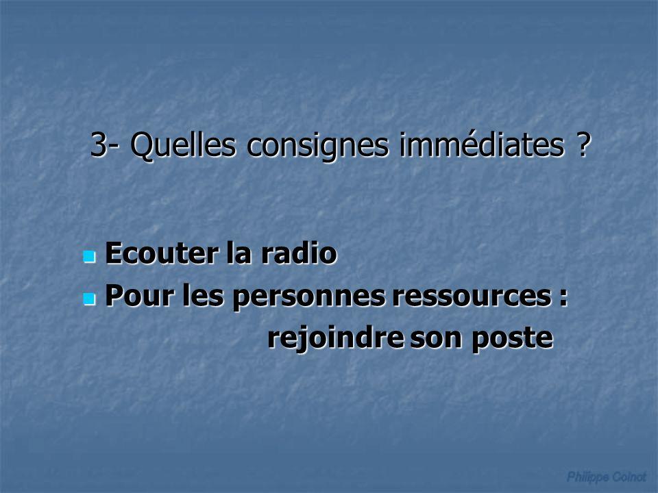 Ecouter la radio Ecouter la radio Pour les personnes ressources : Pour les personnes ressources : rejoindre son poste rejoindre son poste 3- Quelles consignes immédiates ?