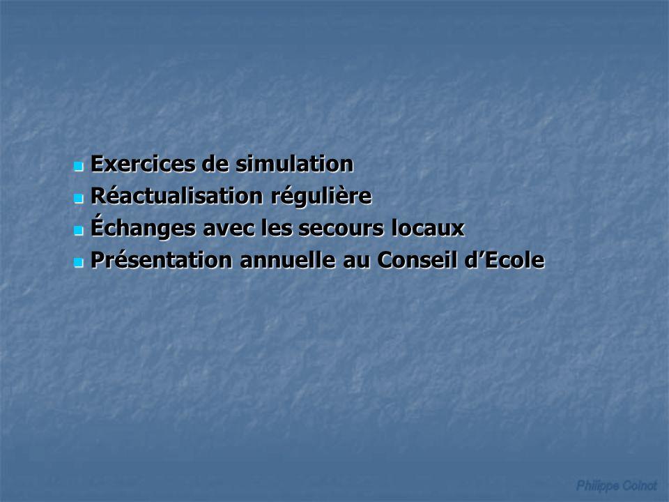 Exercices de simulation Exercices de simulation Réactualisation régulière Réactualisation régulière Échanges avec les secours locaux Échanges avec les