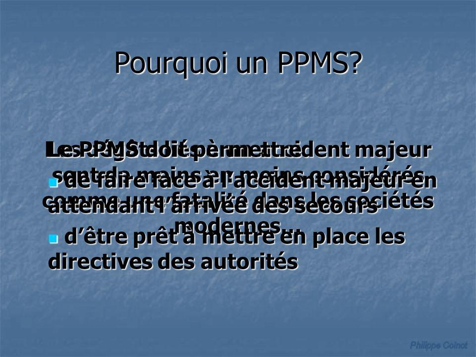Pourquoi un PPMS? Les dégâts liés à un accident majeur sont de moins en moins considérés comme une fatalité dans les sociétés modernes… Le PPMS doit p