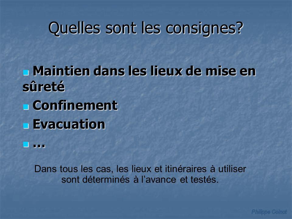 Quelles sont les consignes? Maintien dans les lieux de mise en sûreté Maintien dans les lieux de mise en sûreté Confinement Confinement Evacuation Eva