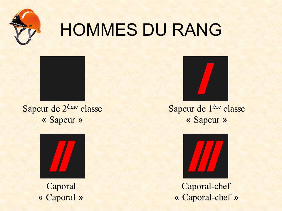 HOMMES DU RANG Sapeur de 2 è me classe CaporalCaporal-chef « Sapeur » Sapeur de 1 è re classe « Sapeur » « Caporal »« Caporal-chef »