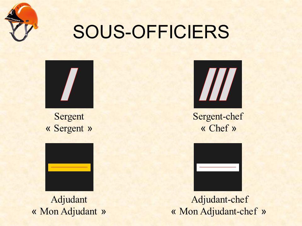 SOUS-OFFICIERS __________________________________ SergentSergent-chef AdjudantAdjudant-chef « Sergent »« Chef » « Mon Adjudant »« Mon Adjudant-chef »