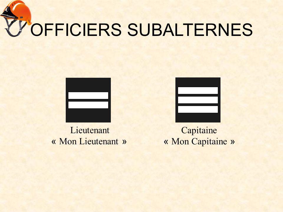 OFFICIERS SUBALTERNES Lieutenant « Mon Lieutenant » Capitaine « Mon Capitaine »