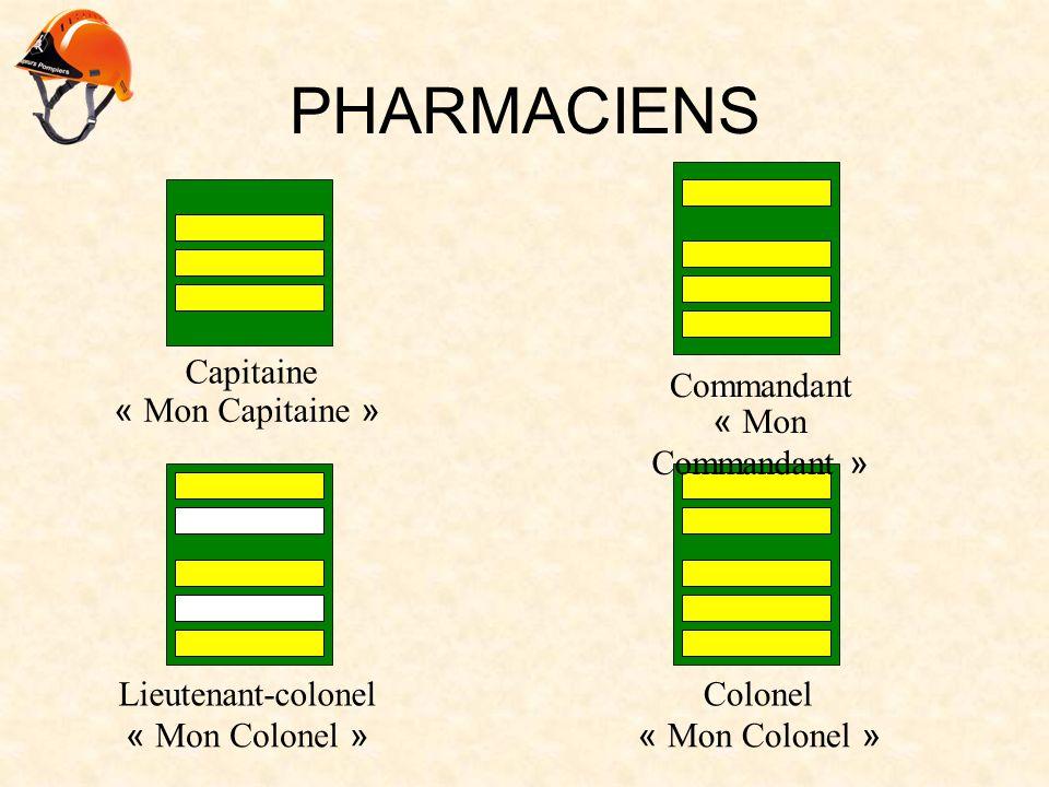 PHARMACIENS Capitaine « Mon Capitaine » Commandant « Mon Commandant » Lieutenant-colonel « Mon Colonel » Colonel « Mon Colonel »