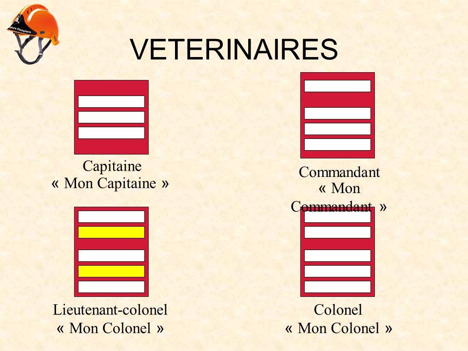 VETERINAIRES Capitaine « Mon Capitaine » Commandant « Mon Commandant » Lieutenant-colonel « Mon Colonel » Colonel « Mon Colonel »