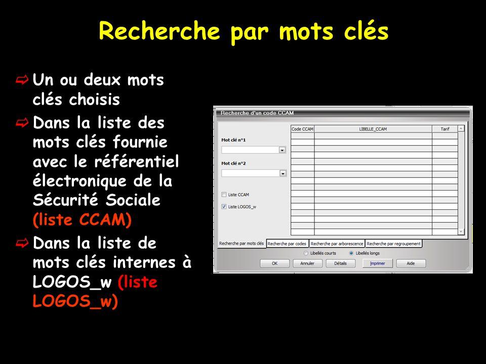 Chacun des mots clés peut être choisi dans deux combo- box (listes déroulantes) ou directement saisi au clavier Possibilité de limiter la recherche à lune ou lautre des deux listes Utilisation de la liste LOGOS_w de préférence