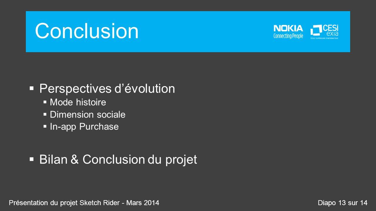 Conclusion Perspectives dévolution Mode histoire Dimension sociale In-app Purchase Bilan & Conclusion du projet Présentation du projet Sketch Rider -