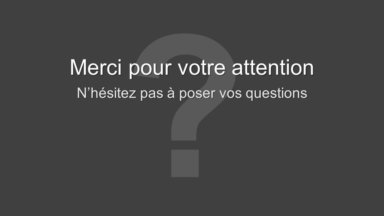 Merci pour votre attention Nhésitez pas à poser vos questions