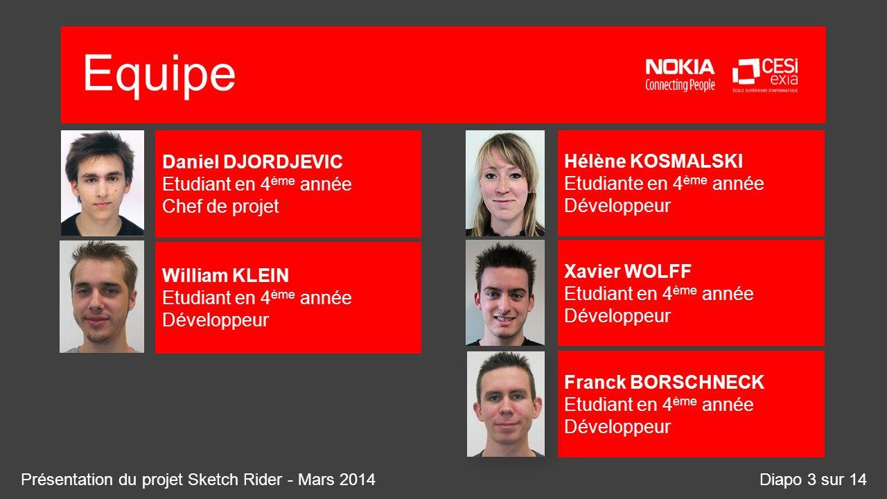 Equipe Diapo 3 sur 14 Hélène KOSMALSKI Etudiante en 4 ème année Développeur Xavier WOLFF Etudiant en 4 ème année Développeur Franck BORSCHNECK Etudian