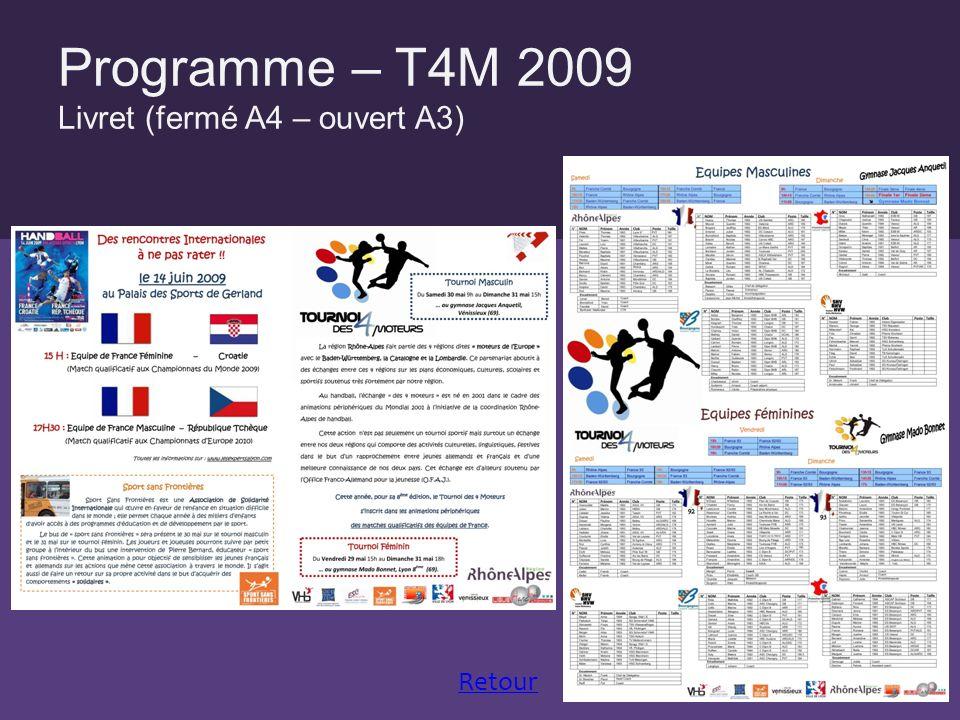 Programme – T4M 2009 Livret (fermé A4 – ouvert A3) Retour