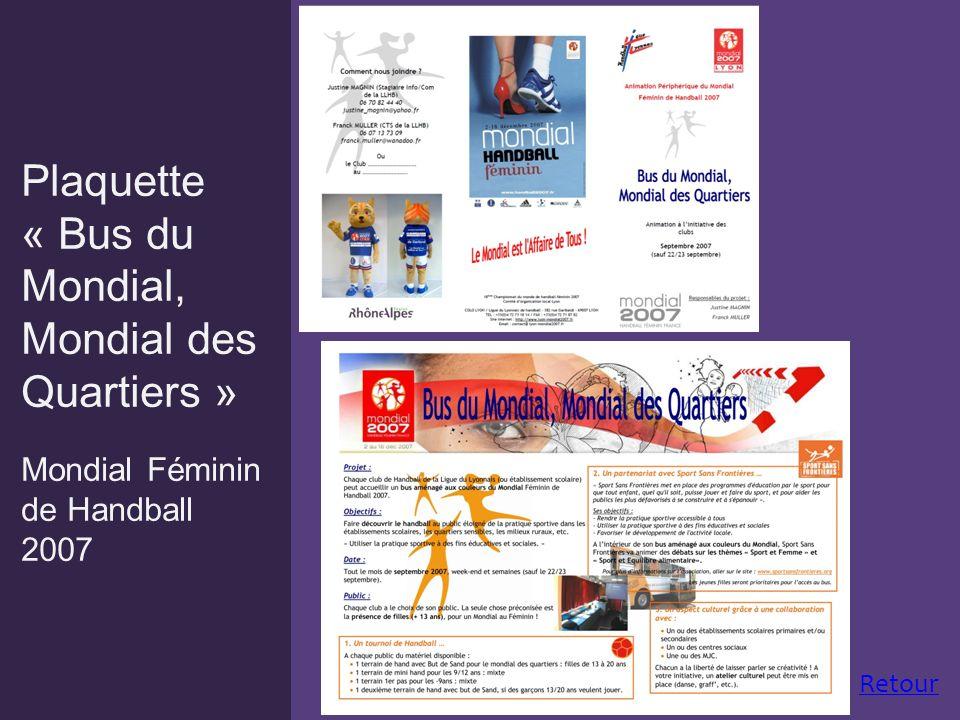 Plaquette « Bus du Mondial, Mondial des Quartiers » Mondial Féminin de Handball 2007 Retour