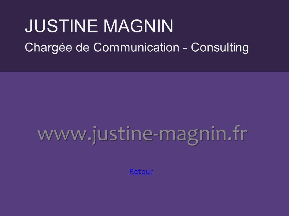 Chargée de Communication - Consulting JUSTINE MAGNIN www.justine-magnin.fr Retour