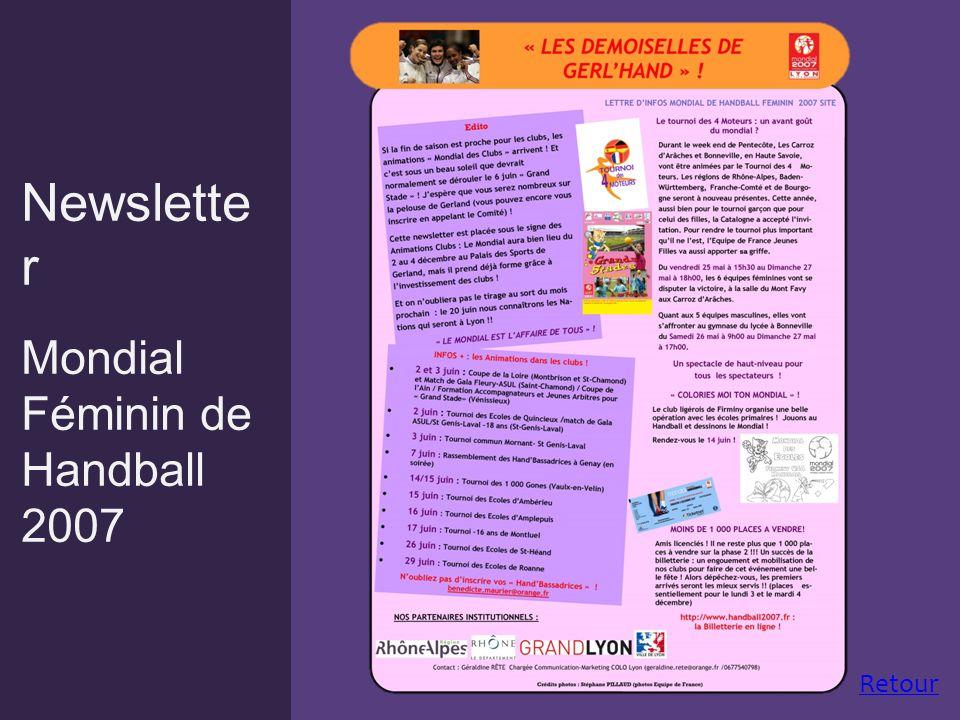 Newslette r Mondial Féminin de Handball 2007 Retour