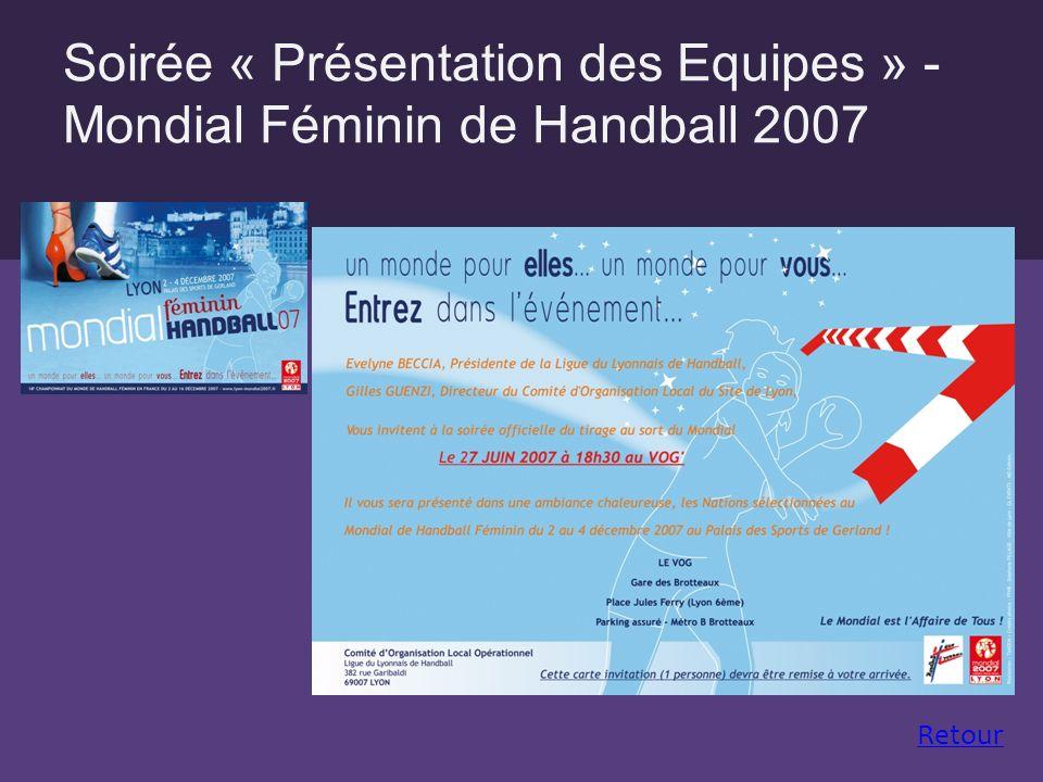 Soirée « Présentation des Equipes » - Mondial Féminin de Handball 2007 Retour