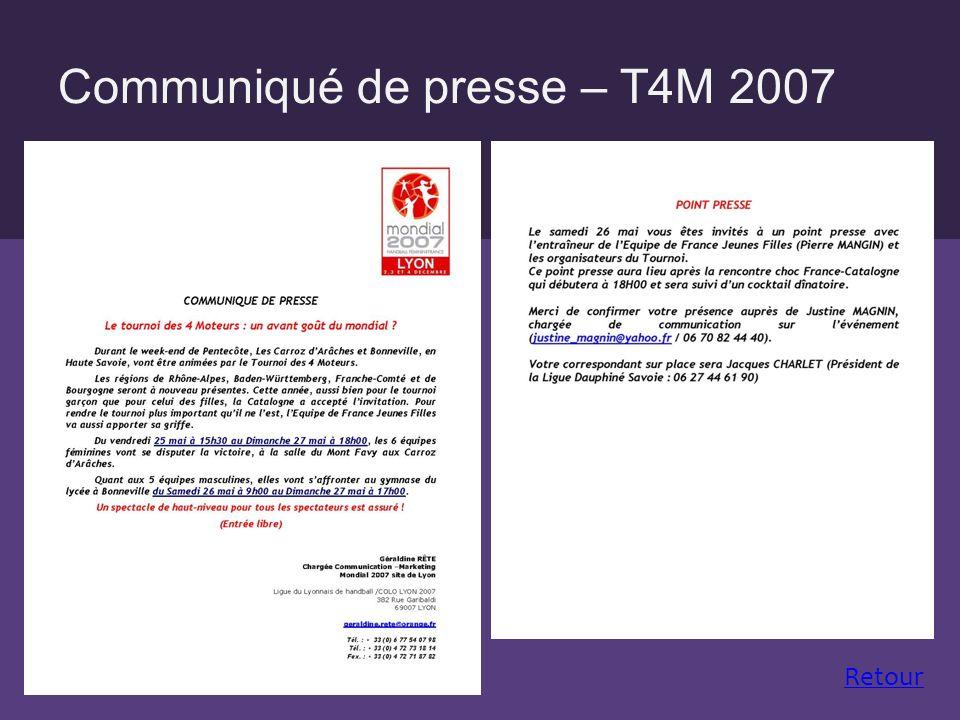 Communiqué de presse – T4M 2007 Retour