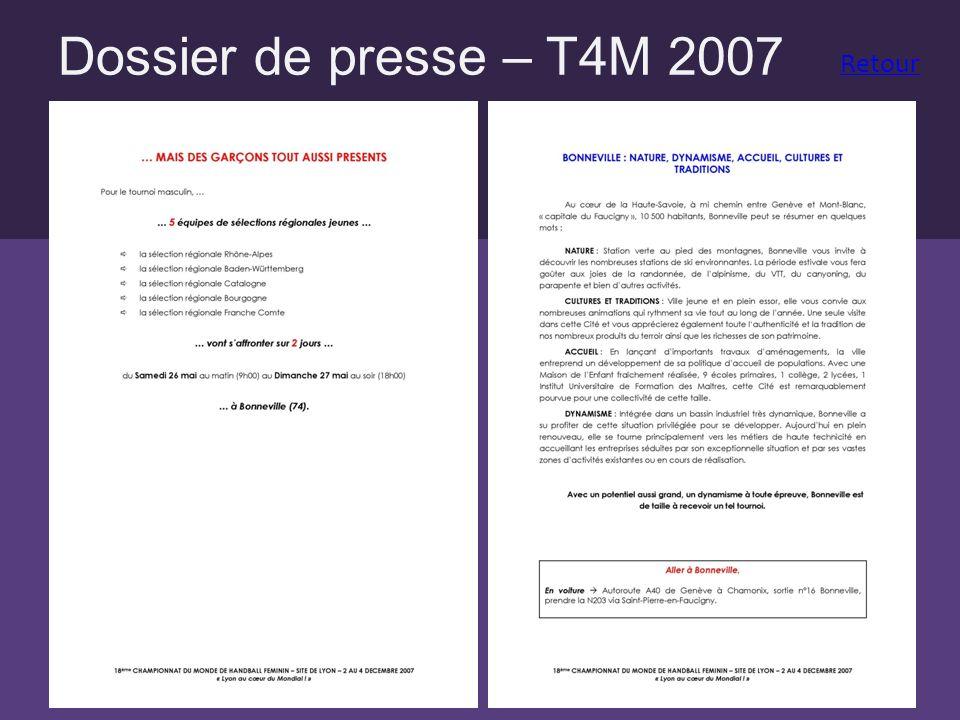 Dossier de presse – T4M 2007 Retour