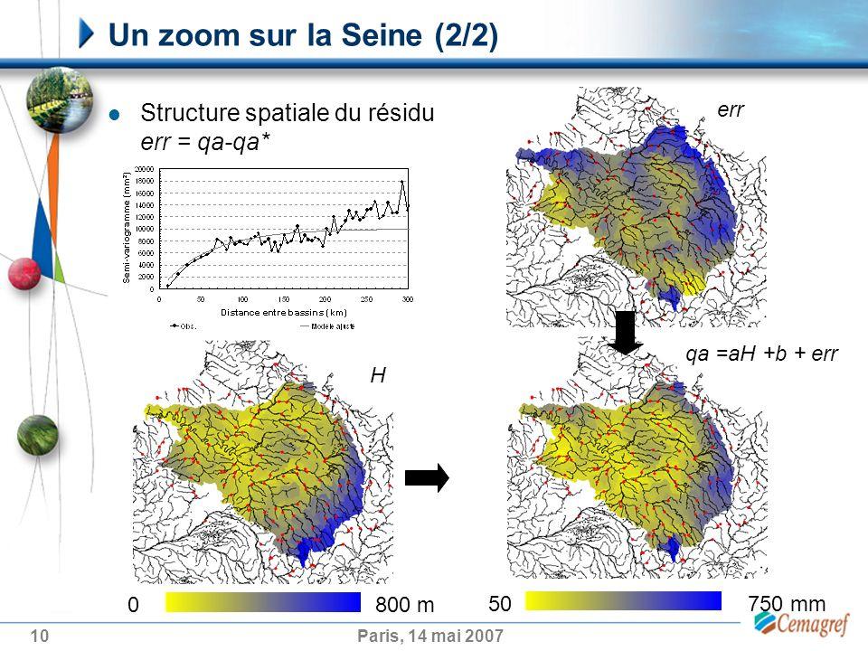 10Paris, 14 mai 2007 Un zoom sur la Seine (2/2) Structure spatiale du résidu err = qa-qa* err 50 750 mm H 0 800 m qa =aH +b + err