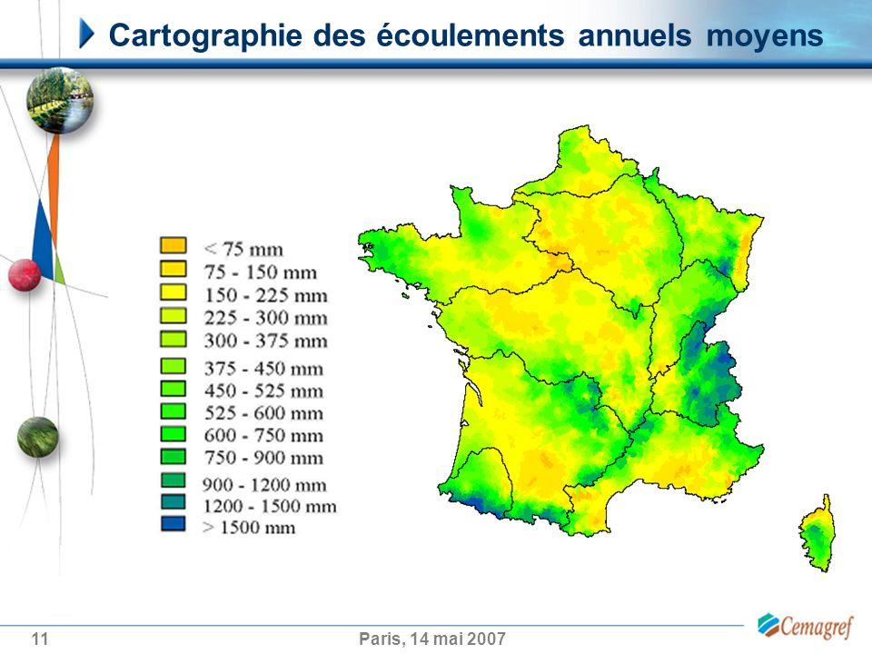 11Paris, 14 mai 2007 Cartographie des écoulements annuels moyens