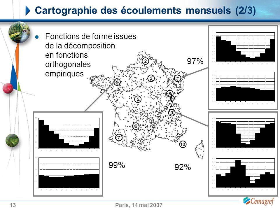 13Paris, 14 mai 2007 Cartographie des écoulements mensuels (2/3) 99% 92% 97% Fonctions de forme issues de la décomposition en fonctions orthogonales empiriques