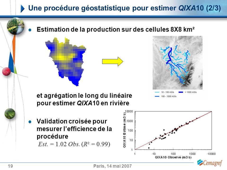 19Paris, 14 mai 2007 Une procédure géostatistique pour estimer QIXA10 (2/3) Estimation de la production sur des cellules 8X8 km² et agrégation le long du linéaire pour estimer QIXA10 en rivière Validation croisée pour mesurer lefficience de la procédure Est.
