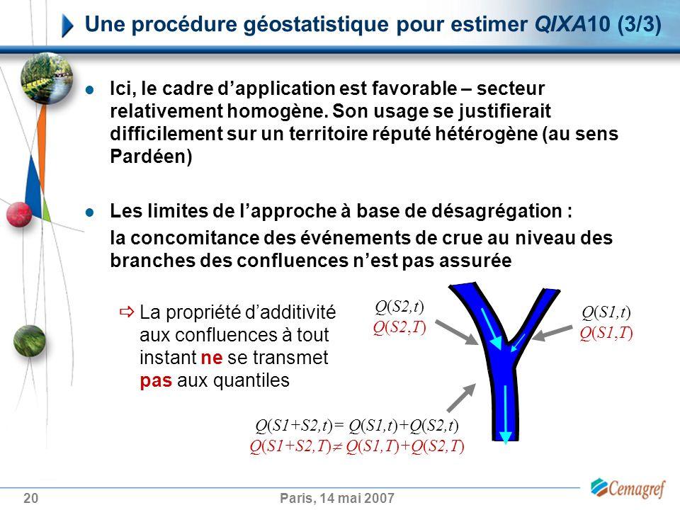 20Paris, 14 mai 2007 Une procédure géostatistique pour estimer QIXA10 (3/3) Ici, le cadre dapplication est favorable – secteur relativement homogène.