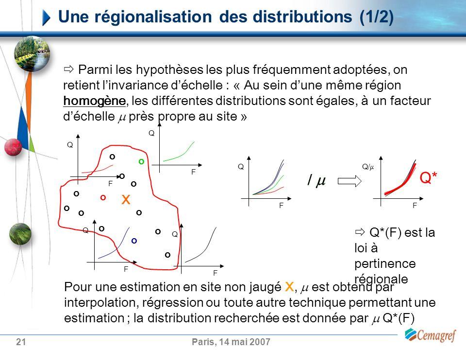 21Paris, 14 mai 2007 Une régionalisation des distributions (1/2) F Q/ / F Q F Q Parmi les hypothèses les plus fréquemment adoptées, on retient linvariance déchelle : « Au sein dune même région homogène, les différentes distributions sont égales, à un facteur déchelle près propre au site » o o o o o o o o o o o o o F Q F Q F Q / / / Q*(F) est la loi à pertinence régionale Q* Pour une estimation en site non jaugé X, est obtenu par interpolation, régression ou toute autre technique permettant une estimation ; la distribution recherchée est donnée par Q*(F) X