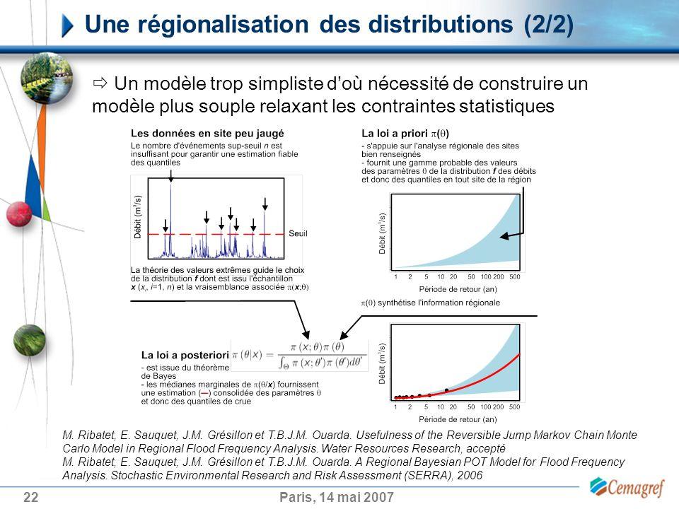 22Paris, 14 mai 2007 Une régionalisation des distributions (2/2) Un modèle trop simpliste doù nécessité de construire un modèle plus souple relaxant les contraintes statistiques M.