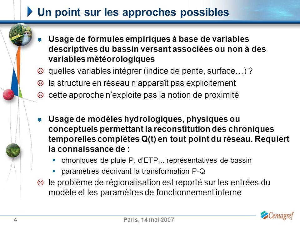 4Paris, 14 mai 2007 Un point sur les approches possibles Usage de formules empiriques à base de variables descriptives du bassin versant associées ou