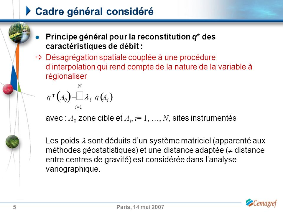 5Paris, 14 mai 2007 Cadre général considéré Principe général pour la reconstitution q* des caractéristiques de débit : Désagrégation spatiale couplée