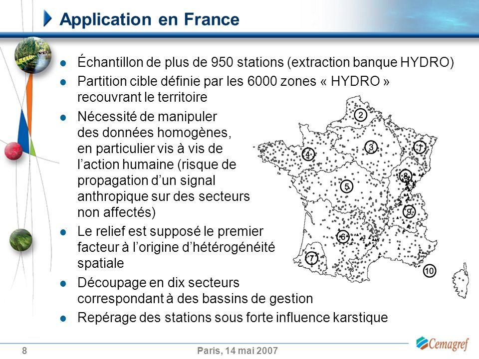 8Paris, 14 mai 2007 Application en France Échantillon de plus de 950 stations (extraction banque HYDRO) Partition cible définie par les 6000 zones « H