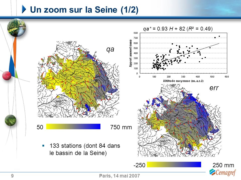 9Paris, 14 mai 2007 Un zoom sur la Seine (1/2) 133 stations (dont 84 dans le bassin de la Seine) 50 750 mm qa err -250 250 mm qa* = 0.93 H + 82 (R² =
