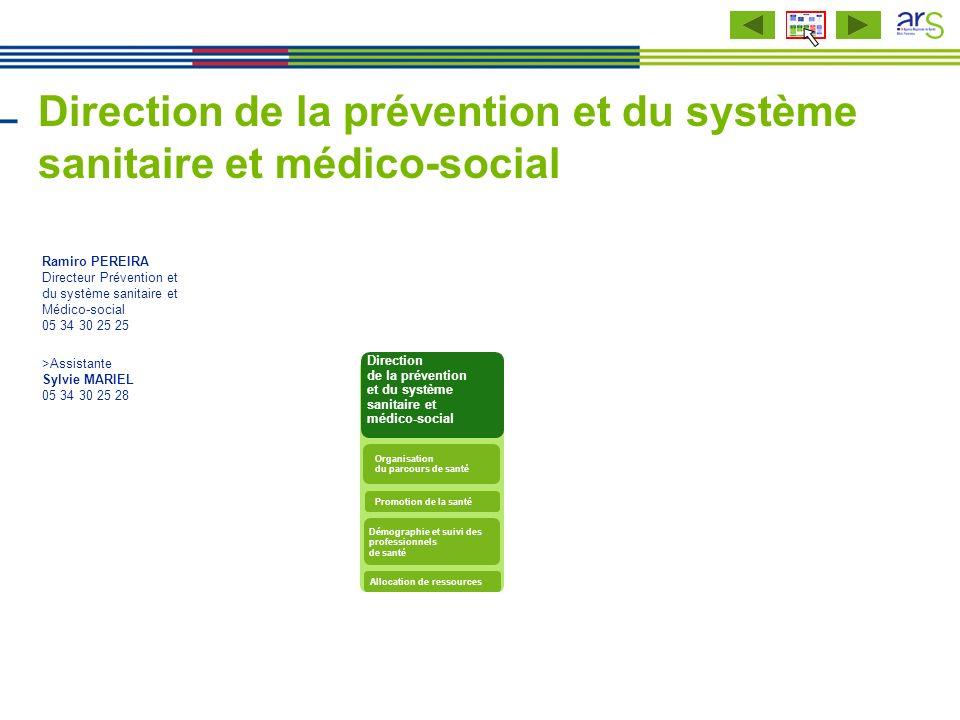 Direction de la prévention et du système sanitaire et médico-social Ramiro PEREIRA Directeur Prévention et du système sanitaire et Médico-social 05 34