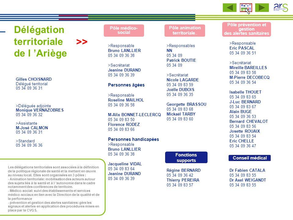 Délégation territoriale de l Ariège >Responsable Eric PASCAL 05 34 09 36 51 >Secrétariat Mireille BAREILLES 05 34 09 83 58 M-Pierre DECOBECQ 05 34 09