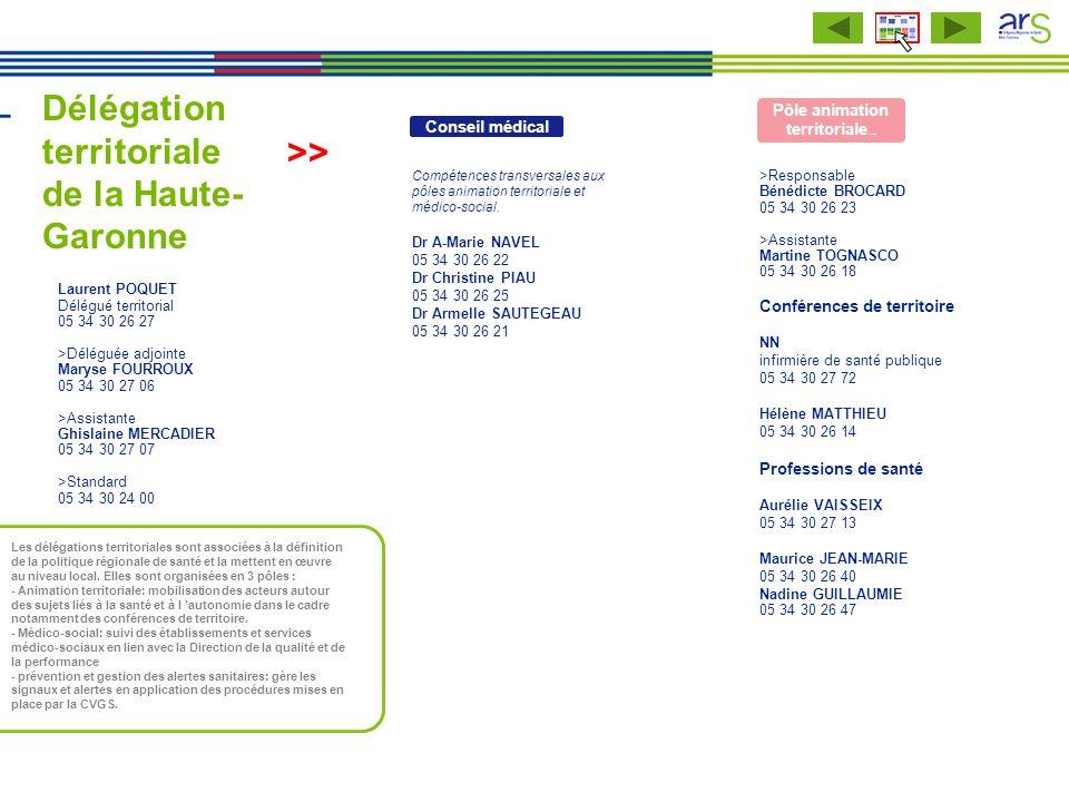 Délégation territoriale de la Haute- Garonne Laurent POQUET Délégué territorial 05 34 30 26 27 >Déléguée adjointe Maryse FOURROUX 05 34 30 27 06 >Assi