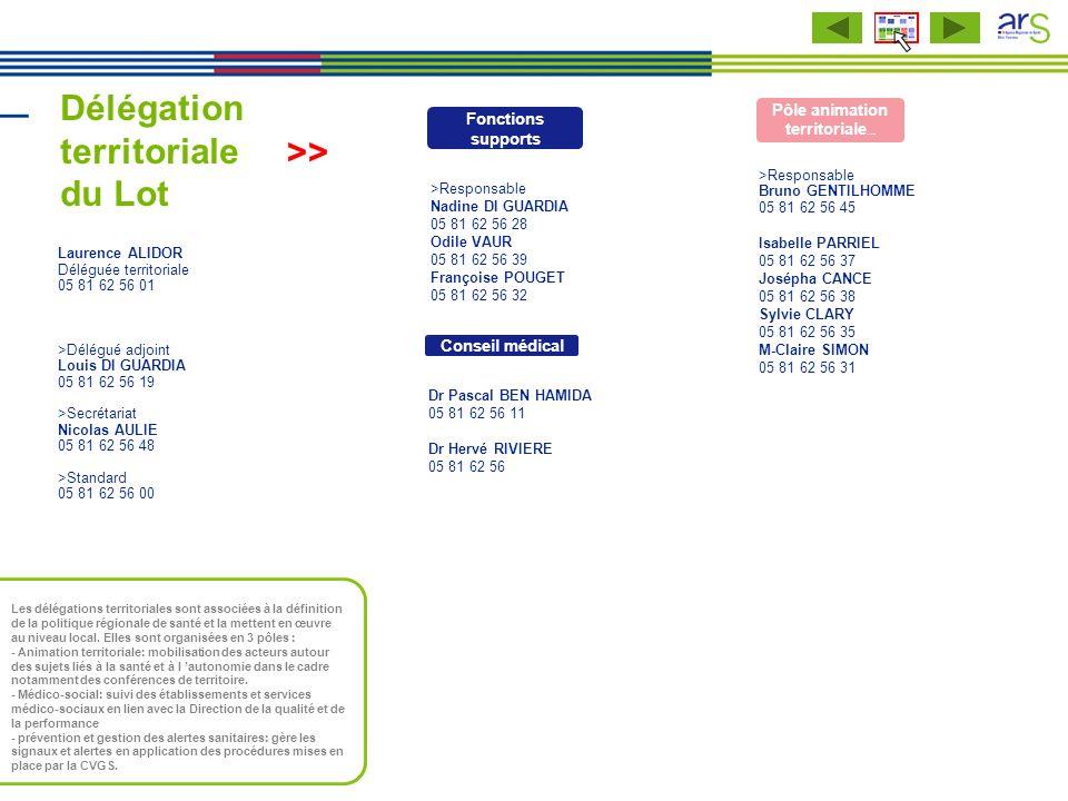 Délégation territoriale du Lot Laurence ALIDOR Déléguée territoriale 05 81 62 56 01 >Délégué adjoint Louis DI GUARDIA 05 81 62 56 19 >Secrétariat Nico