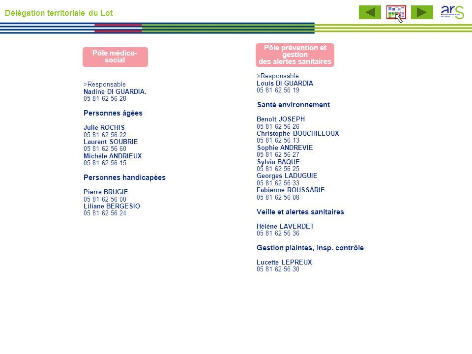 >Responsable Louis DI GUARDIA 05 81 62 56 19 Santé environnement Benoît JOSEPH 05 81 62 56 26 Christophe BOUCHILLOUX 05 81 62 56 13 Sophie ANDREVIE 05