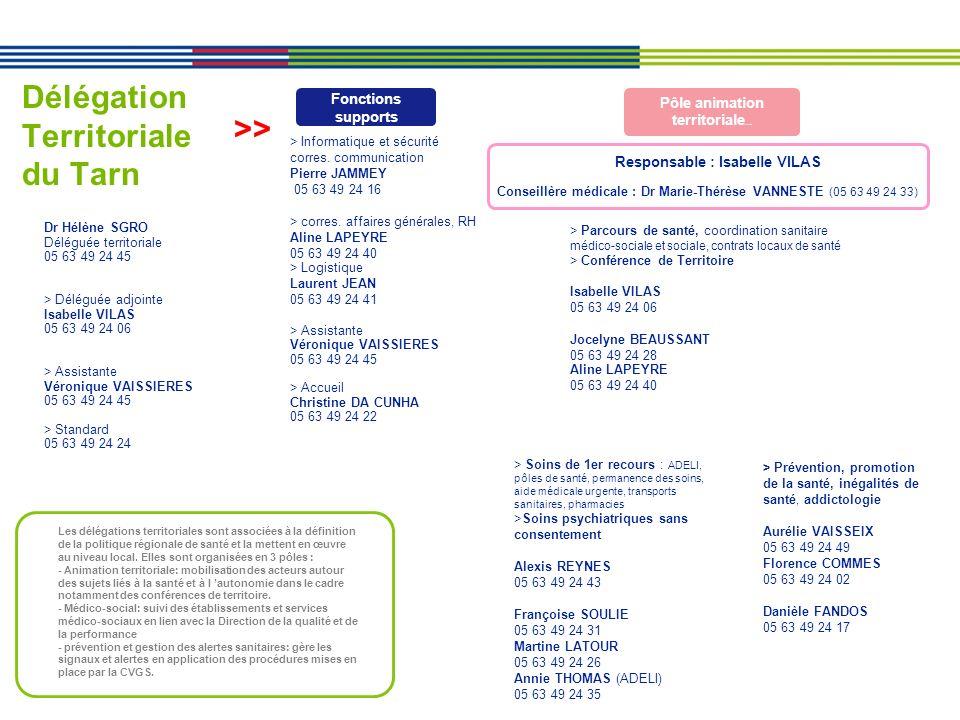 Délégation Territoriale du Tarn Dr Hélène SGRO Déléguée territoriale 05 63 49 24 45 > Déléguée adjointe Isabelle VILAS 05 63 49 24 06 > Assistante Vér