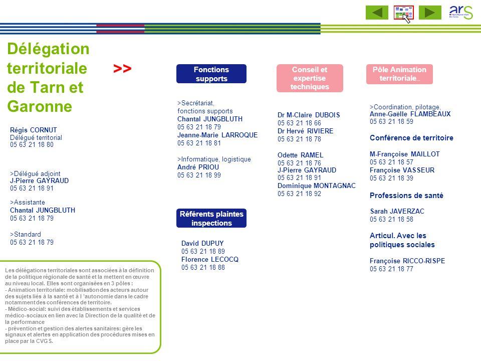 Délégation territoriale de Tarn et Garonne >Secrétariat, fonctions supports Chantal JUNGBLUTH 05 63 21 18 79 Jeanne-Marie LARROQUE 05 63 21 18 81 >Inf