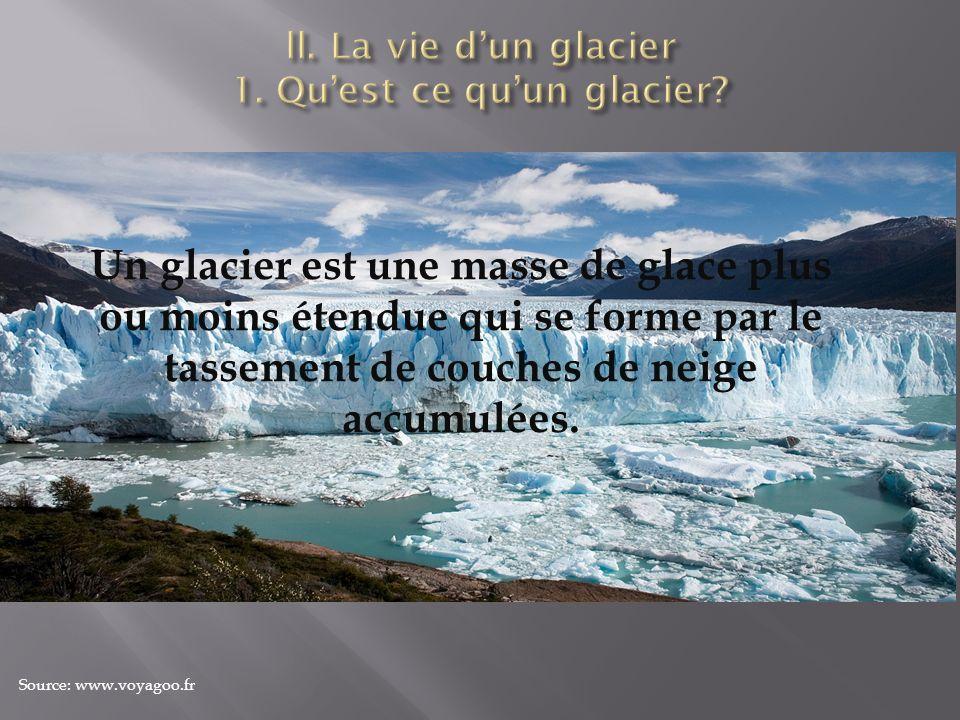 Un glacier est une masse de glace plus ou moins étendue qui se forme par le tassement de couches de neige accumulées. Source: www.voyagoo.fr