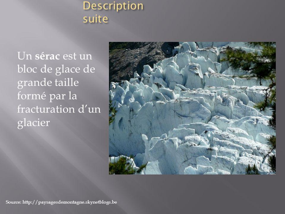 Description suite Un sérac est un bloc de glace de grande taille formé par la fracturation dun glacier Source: http://paysagesdemontagne.skynetblogs.b