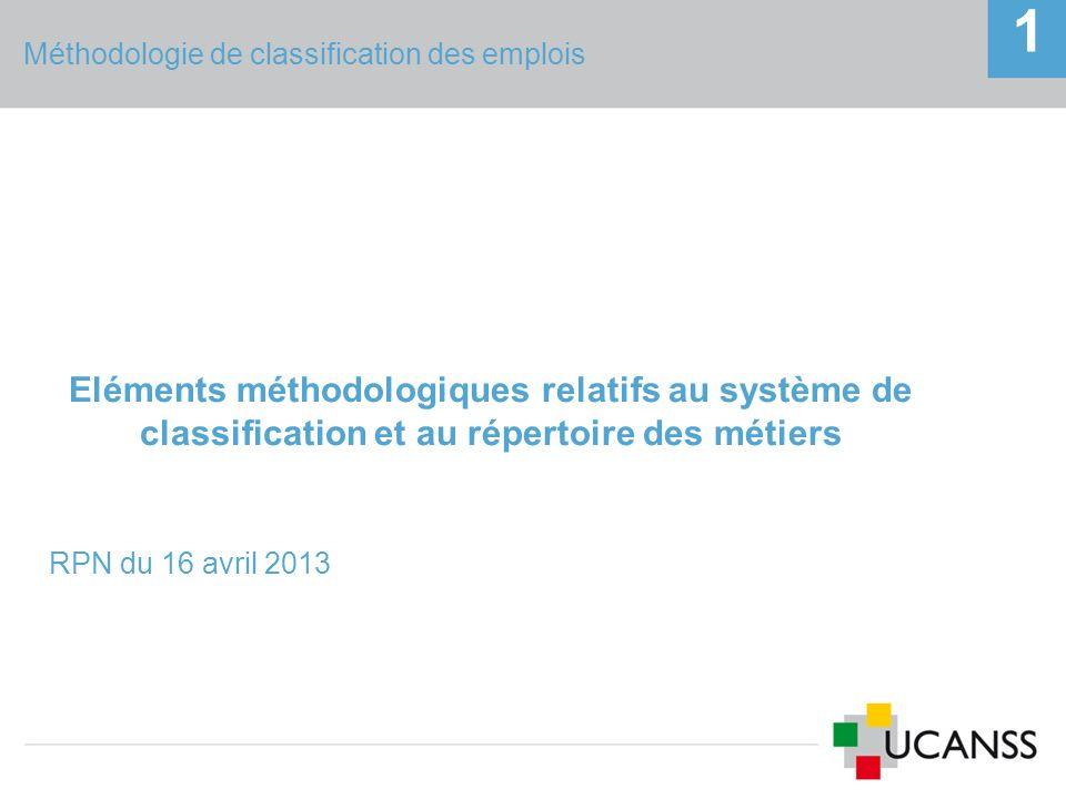 Méthodologie de classification des emplois 1 Eléments méthodologiques relatifs au système de classification et au répertoire des métiers RPN du 16 avr