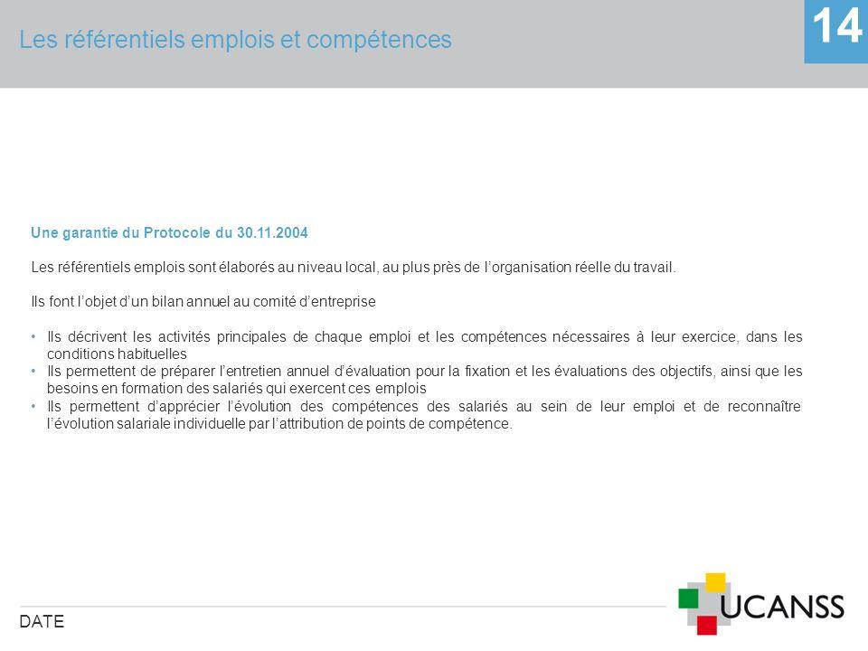 Les référentiels emplois et compétences DATE 14 Une garantie du Protocole du 30.11.2004 Les référentiels emplois sont élaborés au niveau local, au plu