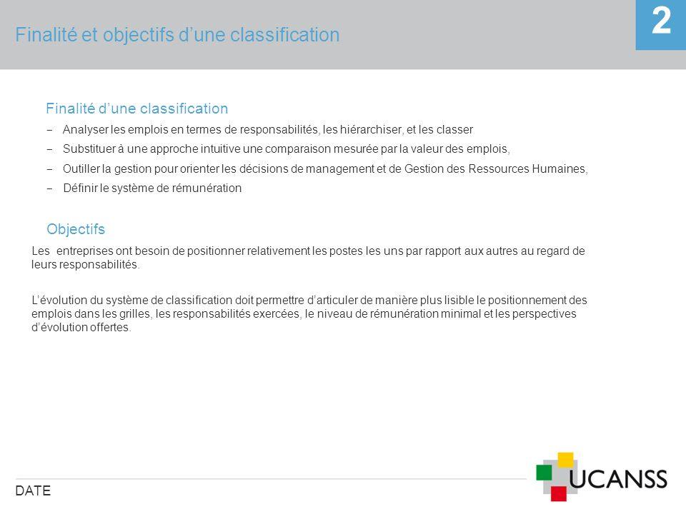 Finalité et objectifs dune classification DATE 2 Finalité dune classification Analyser les emplois en termes de responsabilités, les hiérarchiser, et