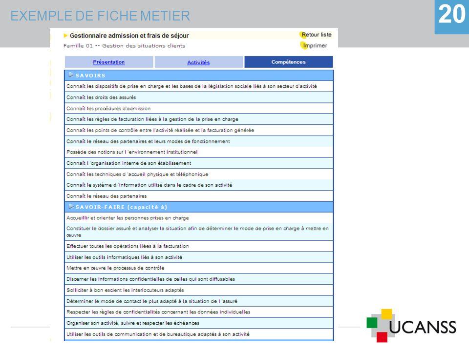 EXEMPLE DE FICHE METIER 20