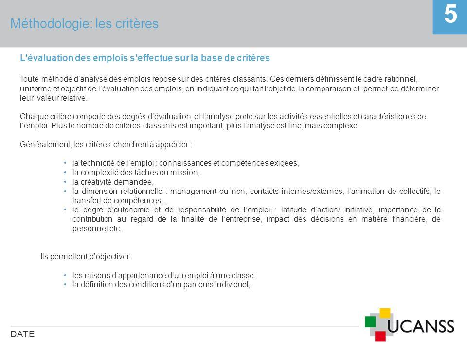 Méthodologie: les critères DATE 5 Lévaluation des emplois seffectue sur la base de critères Toute méthode danalyse des emplois repose sur des critères