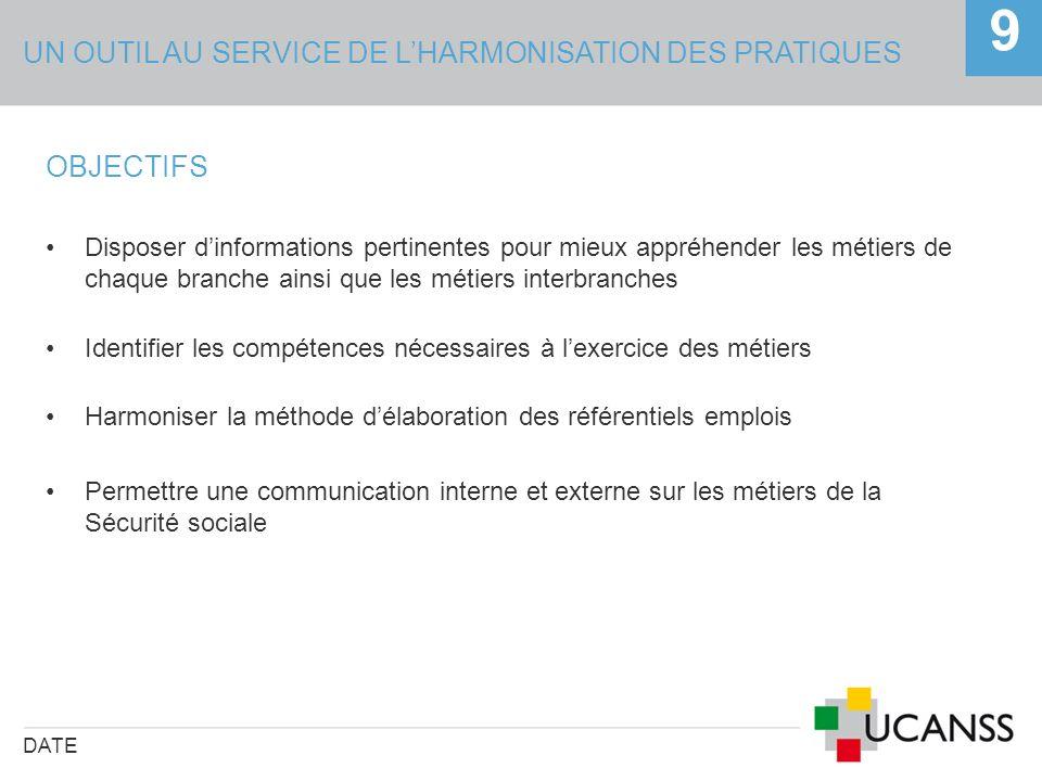UN OUTIL AU SERVICE DE LHARMONISATION DES PRATIQUES DATE 9 OBJECTIFS Disposer dinformations pertinentes pour mieux appréhender les métiers de chaque b
